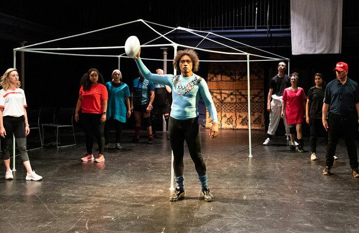 Sani Muliaumaseali'i and the company of R'Otello: The Rugby Opera at the Bridewell Theatre, London