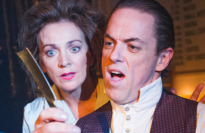 Jeremy Secomb, with Siobhan McCarthy, in Sweeney Todd at Harrington's Pie and Mash. He will star in Reputation at the Other Palace Photo: Tristram Kenton