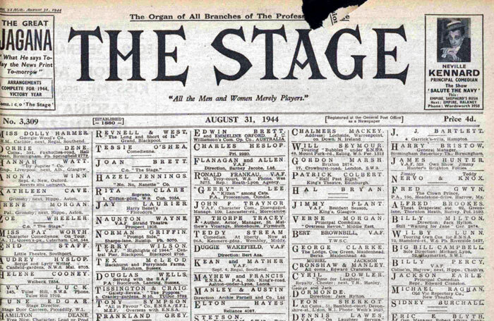 Front cover of The Stage, August 31, 1944