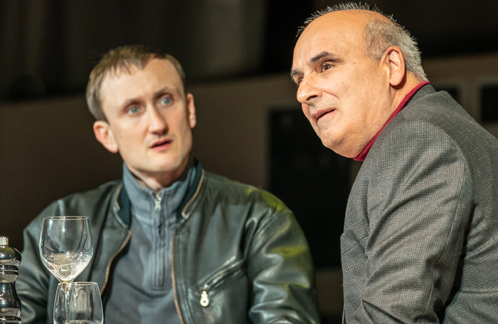 Tom Brooke and Peter Polycarpou in A Very Expensive Poison at the Old Vic. Photo: Marc Brenner