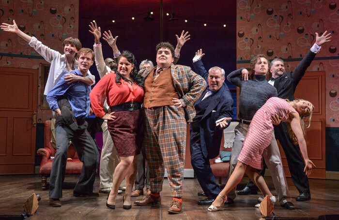 The cast of One Man Two Guvnors at Derby Theatre