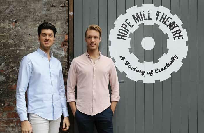 Joseph Houston (left) and William Whelton outside partner venue Hope Mill Theatre. Photo: Shay Rowan