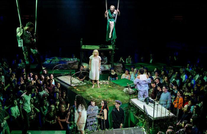 The cast of A Midsummer Night's Dream at Bridge Theatre, London. Photo: Manuel Harlan
