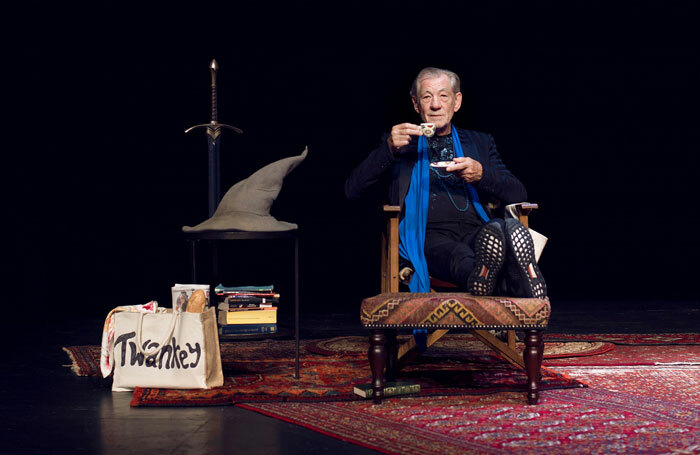 Ian McKellen on Stage With Tolkien, Shakespeare, Others and You at Harold Pinter Theatre, London. Photo: Frederic Aranda