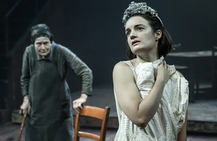 Annie Firbank and Aoife Duffin in Blood Wedding at the Young Vic. Photo: Marc Brenner