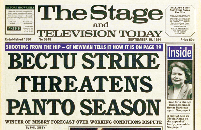 The Stage front page, September 15, 1994