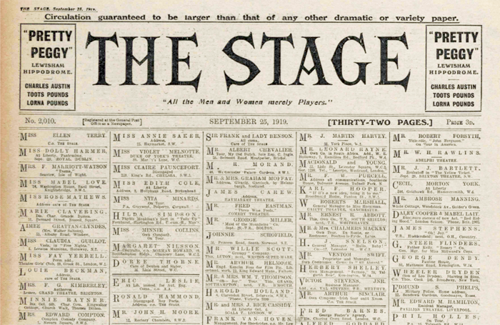 The Stage front cover September 25, 1919