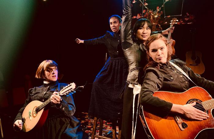 Sasha Wilson, Olivia Kennett, Gracie Lai and Mairi Hawthorn in Call Me Fury at the Hope Theatre, London. Photo: David Spence