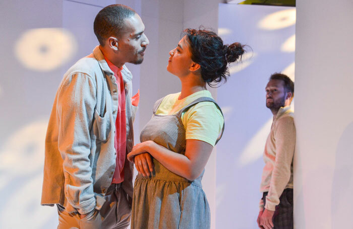 Gabriel Akuwudike, Isabella Laughland and Patrick Knowles in Either at Hampstead Theatre, London. Photo: Robert Day