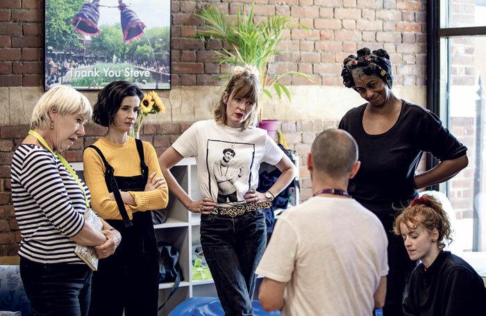 Tricia Kelly, Jasmine Jones, Sally Tatum, Hannah Hutch, Sandra James-Young and director Richard Beecham in rehearsal for Gaslight at Watford Palace Theatre. Photo: The Other Richard