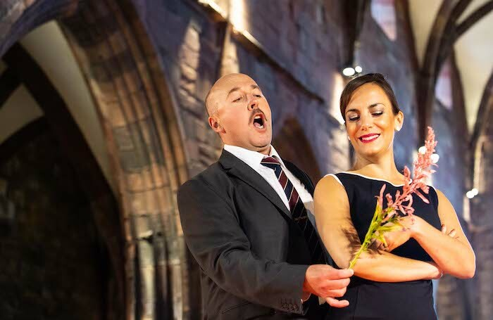 Richard Burkhard and Clare Presland in Scottish Opera's production of Susanna's Secret. Photo: Sally Jubb