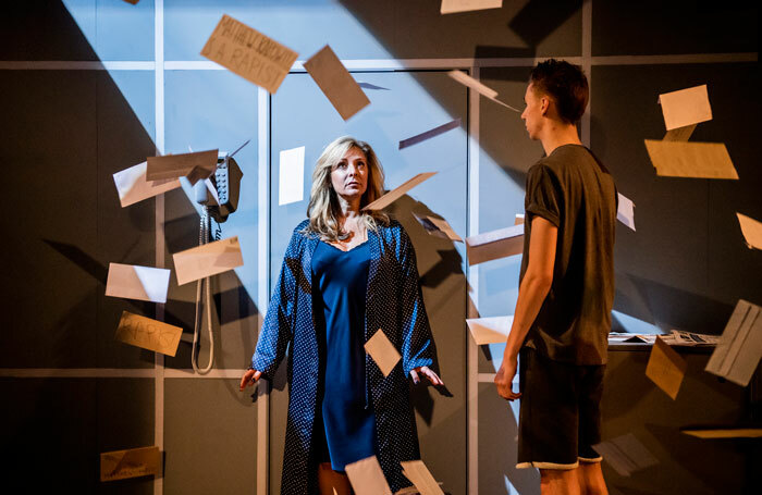 Tracy-Ann Oberman and Scott Folan in Mother of Him at Park Theatre, London. Photo: Tristram Kenton