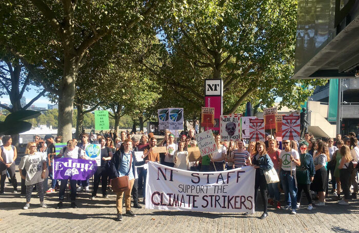 National Theatre strikers at last week's climate rally (September 20, 2019)