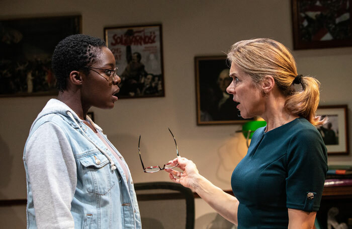 Moronke Akinola and Janie Dee in The Niceties at the Finborough Theatre, London. Photo: Ali Wright