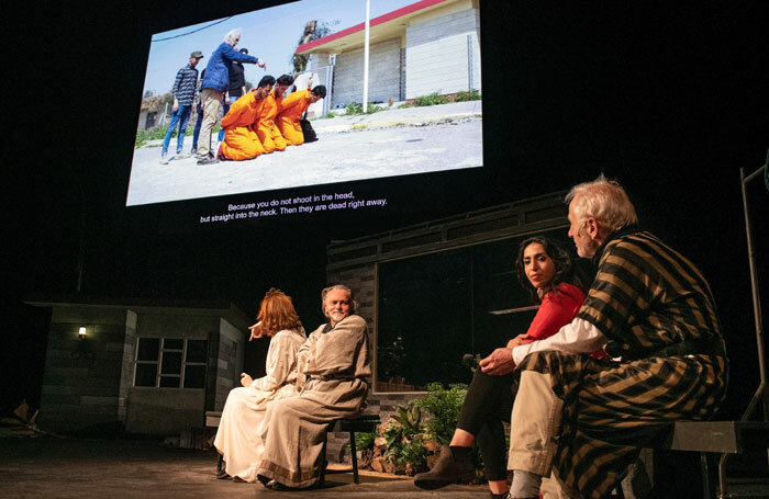 Cast of Orestes in Mosul at NTGent, Belgium. Photo: Fred Debrock