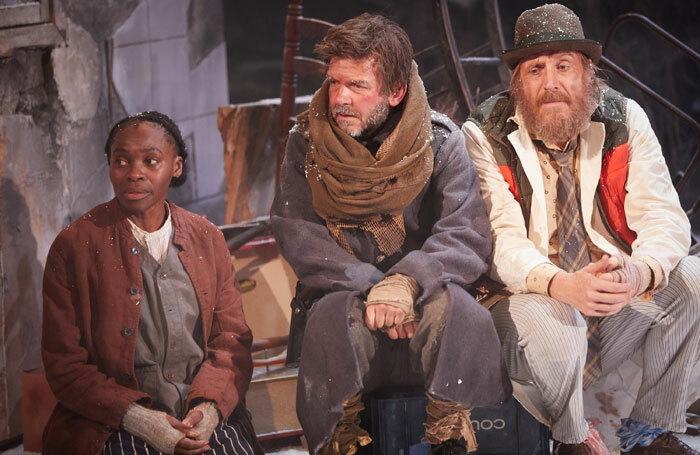 Rakie Ayola, Jason Hughes and Rhys Ifans in On Bear Ridge at Sherman Theatre, Cardiff. Photo: Mark Douet