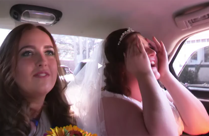 Bride Kayleigh sees the funny side of her disaster-themed wedding