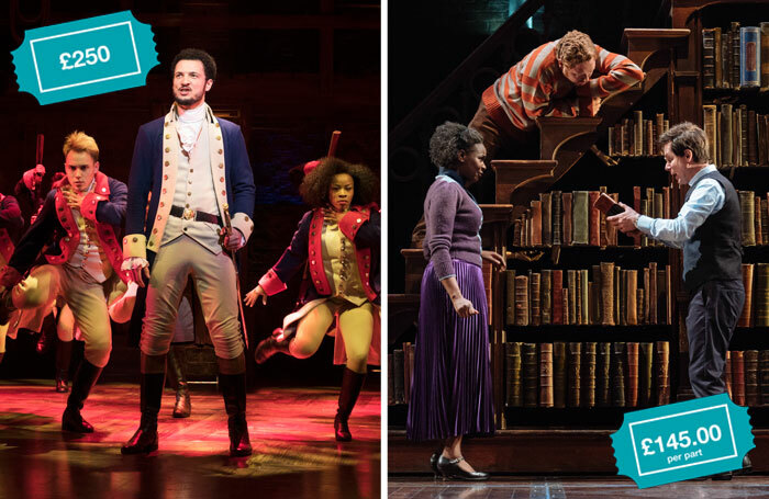 In 2019, Hamilton (left) and Harry Potter and the Cursed Child had top-price tickets of £250 and £145 (per part), respectively. Photos: Matthew Murphy/Manuel Harlan
