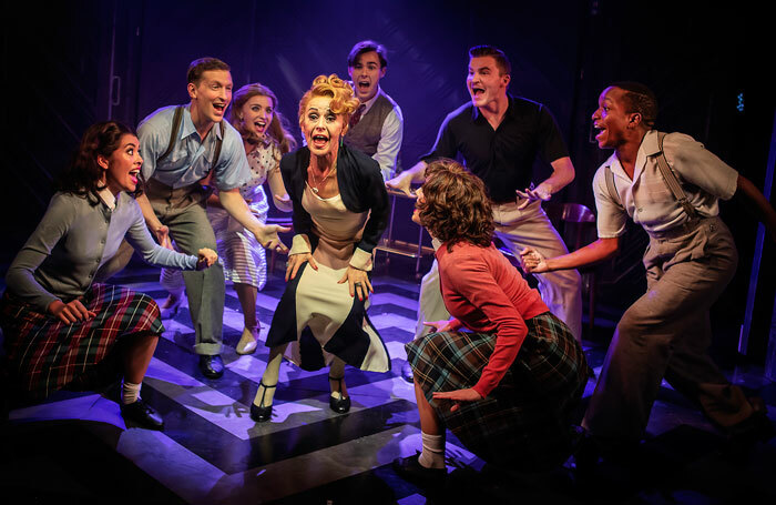 Tracie Bennett and the company of Mame at the Hope Mill Theatre, Manchester. Photo: Pamela Raith
