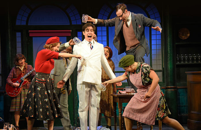Stephen Mangan and the cast of The Man in the White Suit at Wyndham's Theatre, London. Photo: Nobby Clark
