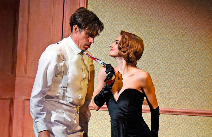 Stephen Mangan and Kara Tointon in The Man in the White Suit at Wyndham's Theatre, London. Photo: Nobby Clark