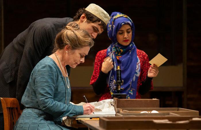 Emma Fielding, Zed Josef and Houda Echouafni in A Museum in Baghdad at the Swan Theatre, Stratford. Photo: Ellie Kurttz/RSC