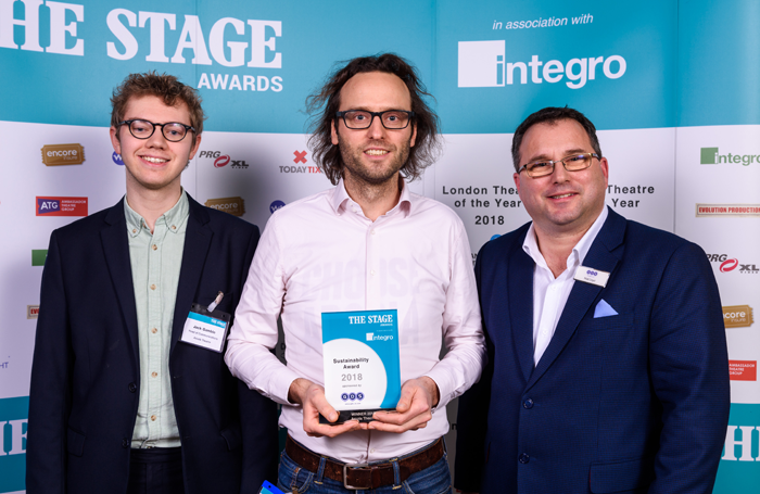 Arcola Theatre's head of communications Jack Gamble and executive director Ben Todd with Matt Lloyd from sponsor Global Design Solutions at The Stage Awards 2018, at which the Arcola won the Sustainability award for its continuing efforts to adopt greener practices and technologies