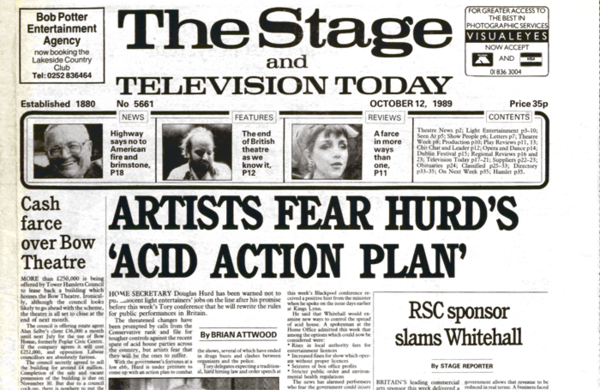 RSC sponsor protests over government support – 30 years ago in The Stage