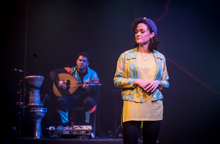 Kareem Samara and Sabrina Mahfouz in The History of Water in the Middle East at Royal Court, London. Photo: Craig Sugden