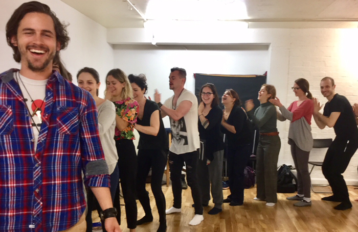 A group voice warm up at Giles Foreman Centre for Acting