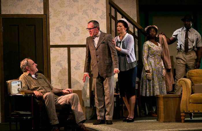 Robin Kingsland, Jack Lord, Frances McNamee, Adelaide Obeng and Vinta Morgan in Clybourne Park at Traverse Theatre. Photo: Eoin Carey