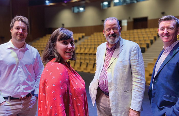 Sharjah Academy staff, left to right: Christopher Gould, head of acting; Jacqui George, head of production; Peter Barlow, executive director; Andy Sullivan, head of musical theatre
