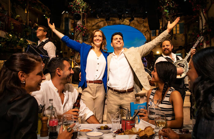Engaging the audience: Mamma Mia! The Party  at London's O2, starring Steph Parry and Fed Zanni (centre), offers an immersive dining experience