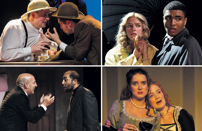 Students performing in Drama Studio London productions (clockwise from top left): Around the World in 80 Days, Speculators, The Country House and The Grand Gesture