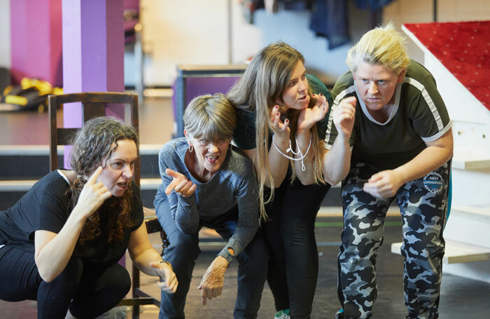 Jude Mahon, Ali Briggs, Lisa Kelly and EJ Raymond in rehearsal for My Mother Said I Never Should. Photo: Mark Douet