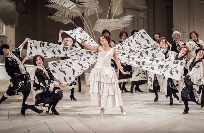 Soraya Mafi and the ENO Chorus in The Mikado at the London Coliseum. Photo: Genevieve Girling