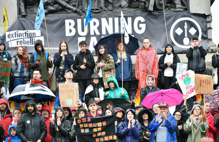 Members of environmental campaign group Extinction Rebellion protest in  Trafalgar Square in October 2019. Photo: Shutterstock
