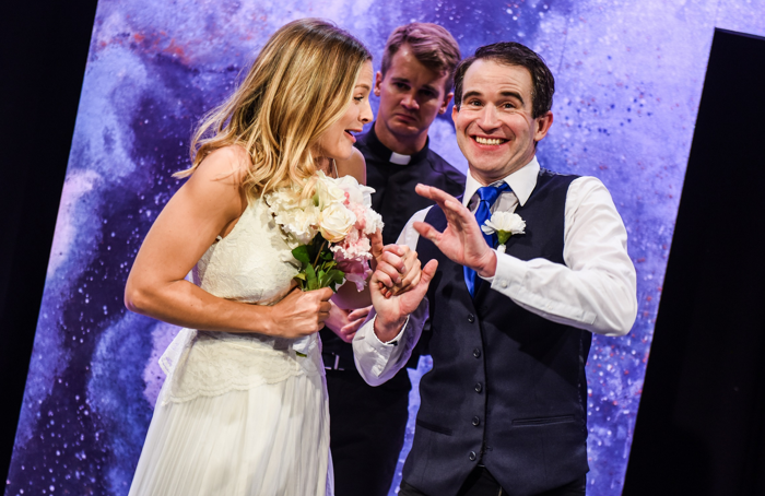Naomi Slights and George Rae in I Love You, You're Perfect, Now Change at Chiswick Playhouse. Photo: Savannah Photographic
