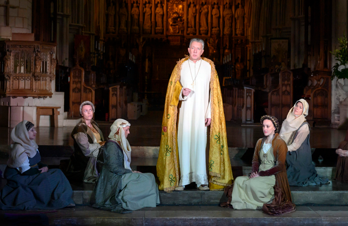 Jasper Britton and the cast of Murder in the Cathedral. Photo: Richard Hubert Smith