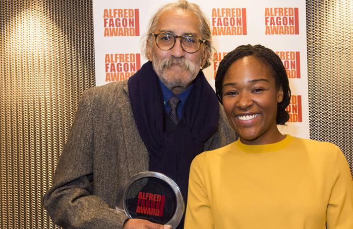 Mustapha Matura with Alfred Fagon award-winner Charlene James in 2014. Photo: Richard H Smith