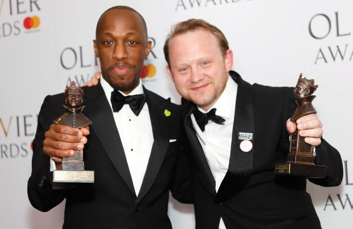 Michael Jibson (right) with Giles Terera at the 2018 Olivier Awards. Photo: Pamela Raith