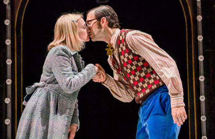 Carly Bawden and Dominic Marsh in Romantics Anonymous at Sam Wanamaker Playhouse, London. Photo: Tristram Kenton