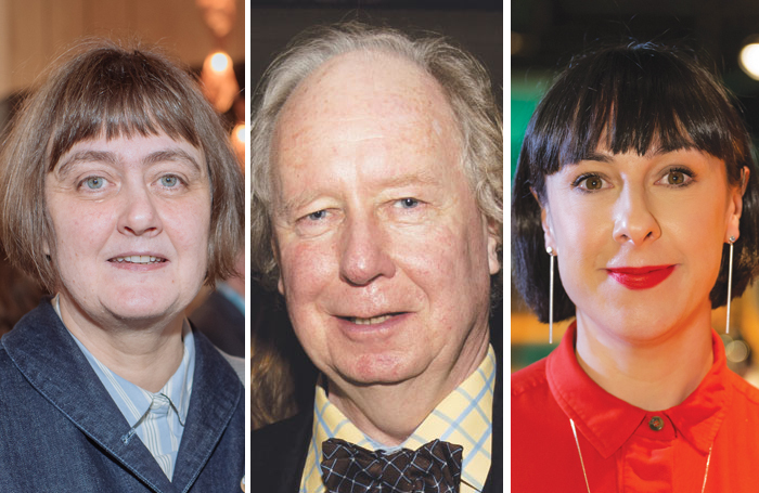 From left: Sarah Frankcom, who will join LAMDA later this year; Gavin Henderson who had stepped down as principal of Central, and Orla O'Loughlin who joined Guildhall earlier this year. Photos: David Monteith-Hodge/Aly Wight/Eliza Power