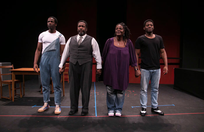 Sope Dirisu, Wendell Pierce, Sharon D Clarke and Natey Jones at a scratch performance of Death of a Salesman at the Young Vic