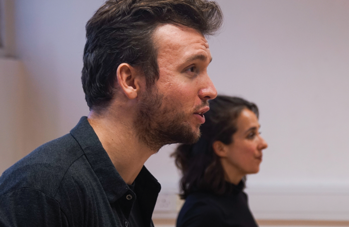 Matt Whitchurch and Lia Burge in rehearsals for Spiderfly.