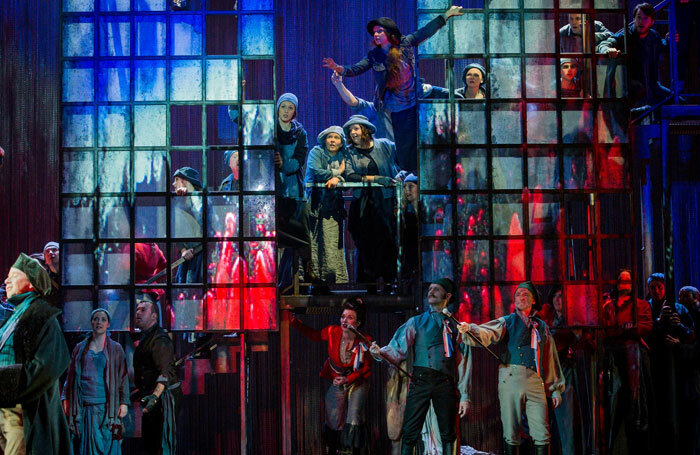 The Chorus of Opera North in Andrea Chenier at Grand Theatre, Leeds Photo: Robert Workman