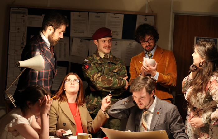 The cast of Crisis? What Crisis? at the Colab Factory. Photo: Owen Kingston