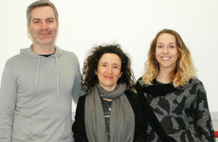 Deafinitely Theatre's chief executive Mark Sands, artistic director Paula Garfield and creative interpreter Kate Furby. Photo: Helen Albert