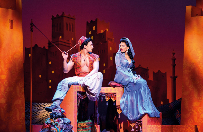 Dean John Wilson as Aladdin and Jade Ewen as Jasmine in Aladdin at the Prince Edward Theatre, London. Photo: Deen van Meer/Disney