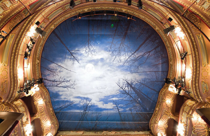 The Apollo's temporary ceiling during Let the Right One In in 2014, after refurbishment work following the partial ceiling collapse. Photo: Siobhan Doran